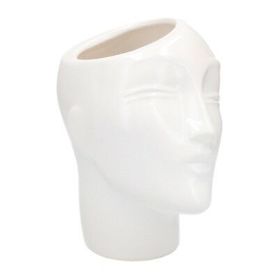 A 1980's postmodern head shaped planter White Vintage pottery