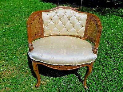 Vtg French Provencial Louis XVI Bergere Caned Chair -- MINT!!