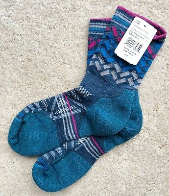 2fe62bad0 NEW Smartwool Womens PhD Outdoor Light Pattern Mid Crew Socks Glacial Blue  NWT