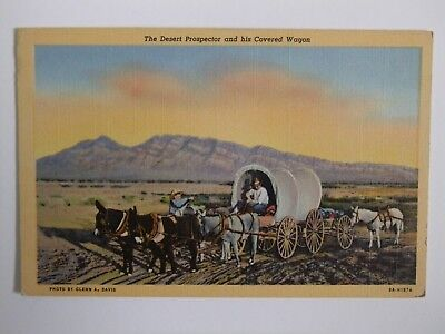 Desert Prospector and his Covered Wagon linen postcard