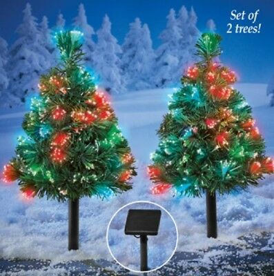 solar christmas tree lawn stakes fiber optic color changing outdoor yard decor - Solar Christmas Tree