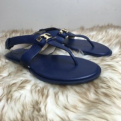 1eeeb3a89 TORY BURCH Gigi Calf Leather Thong Flat Sandals Size 5 Navy Sea Blue New