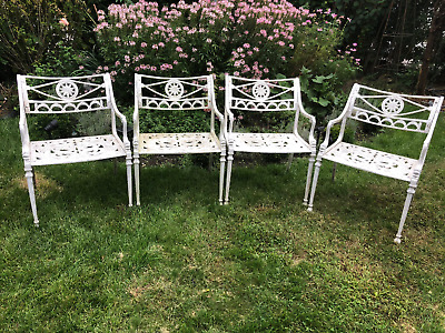 Antique/Vintage Cast Iron 4 Chairs Neoclassical Design Garden Patio Furniture