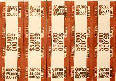 100 - Brown $50 Self-Sealing Currency Bands - $5,000 Cash Money Straps For Fifty