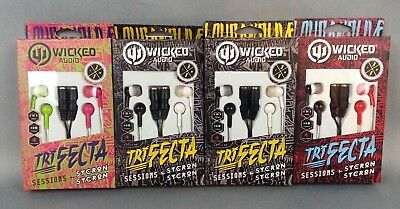 4 NEW Wicked Audio Trifecta Headphones Lot of 4 Headphone Splitter ear buds