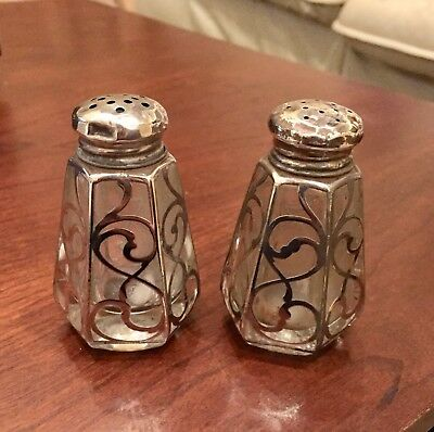 """Antique Sterling Silver Inlay Glass Salt and Pepper Shakers 3 1/4"""" tall Vintage"""