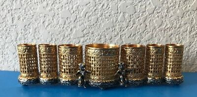 Lipstick Holder Caddy Vintage Brass Filigree With Cherubs Vanity Signed SF
