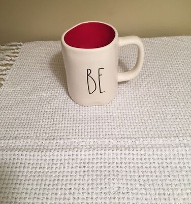 Rae Dunn Valentines Day BE MINE Double-sided Mug - New - HTF Red Interior
