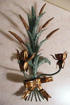 Vtg Gilt Painted Tole WHEAT FLORAL CANDLE Wall Sconce HOLLYWOOD REGENCY - ITALY