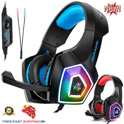 3.5mm Gaming Headset LED Headphones Mic USB For PC Mac Laptop PS4 Xbox One 3DS