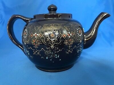 Brown Betty Redware Teapot England Dot Painted