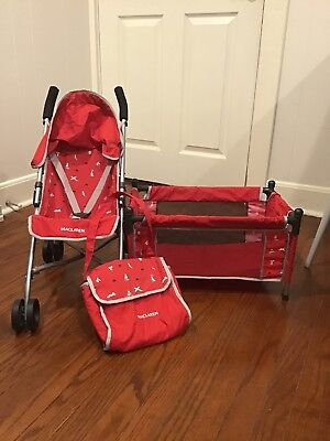 Maclaren Junior Quest Red Play Toy Doll Stroller Travel Bed Diaper Bag 3 Pieces