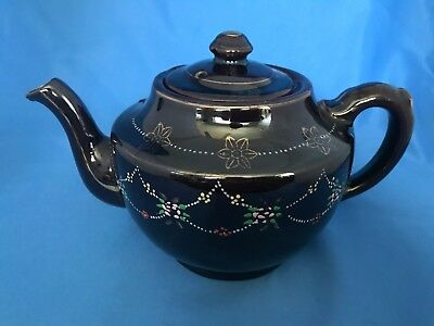 Brown Betty Redware Teapot Dot Painted Japan