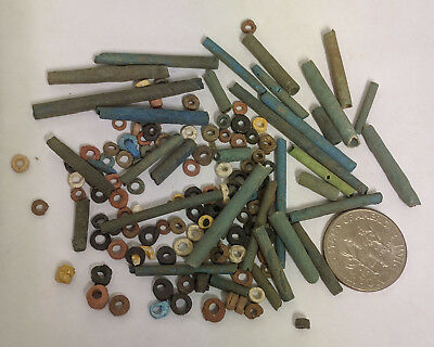 More than a Hundred 2500 Year old Ancient Egyptian Faience Mummy Beads (K1516)