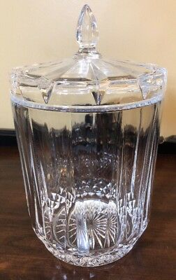 "Vintage 10 1/2"" Clear Ribbed Glass Apothecary Jar"