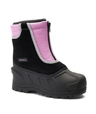 ITASCA Girl's Kids Pink & Black Winter Zipper Snow Boots Size 12 NEW