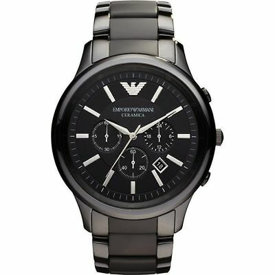 Armani AR1451 Mens Delux Ceramic Chronograph Watch Black Dial Brand New