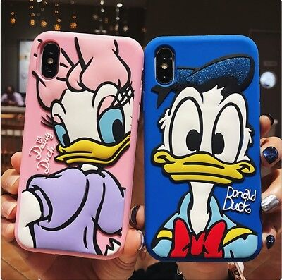 Cute Donald Daisy Duck Lovers Silicone Case Cover for iPhone XS Max XR 6S 7 8+