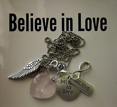 Code 459 Rose Quartz Believe in Love charged n Infused necklace Romance heart