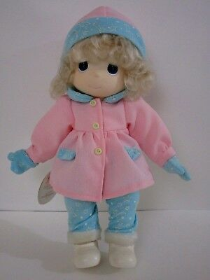 "Precious Moments Doll Glenda Blonde Pink Blue Outfit 12"" Tags 1998 Mittens Stars"