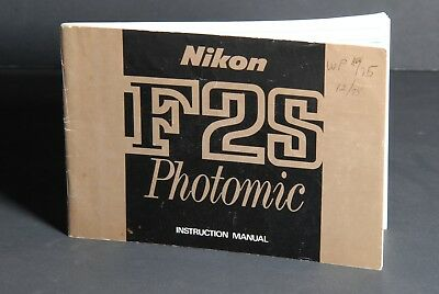 Nikon F2S Photomic Camera Instruction Book / Manual / User Guide