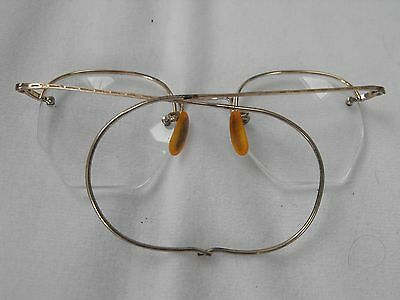 Vintage Eyeglasses & Case, Ladies, Yellow Gold Filled, Bifocals, Very Good Cond.