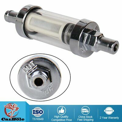 "Universal Fuel Filter ​Clear View Inline 3/8"" Chrome Hose Barb"
