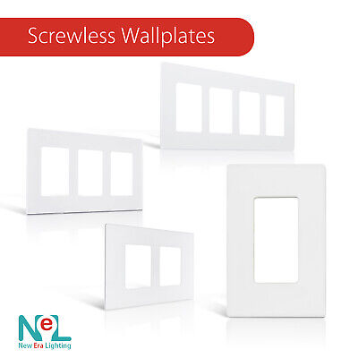 Screwless Wallplate 1-3 Gang, White, Switch Plate Outlet Cover