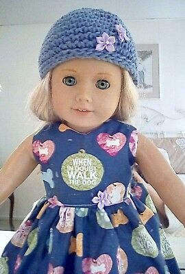 "Walk The Dog! Doll Clothes, Dress hat Made For 18"" American Girl Doll"