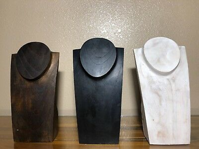 """10"""" Hand Carved Wooden Necklace Bust Jewelry Display Stand Solid Wood G1"""