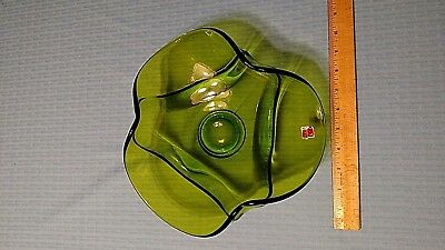 Vintage Viking Art Glass Compote/Fruit Bowl. Beautiful Green REDUCED