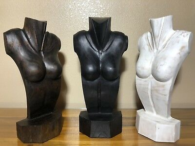"16"" Hand Carved Nude Female Jewelry Display Wooden Necklace Bust Stand Solid G7"
