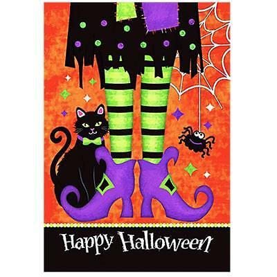 Morigins Happy Halloween Witch Feet Black Cat Spider Double Sided Garden Flag
