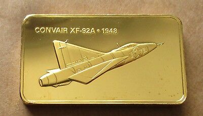 The Janes Medallic Register...convair Xf-92A...usa 1948...gold On Bronze