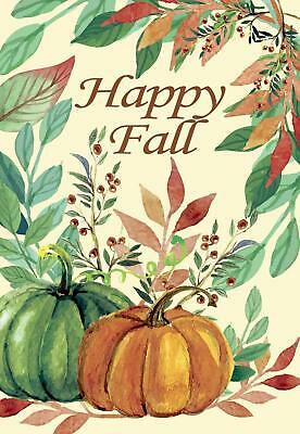 Morigins Happy Fall Leaves Green Yellow Pumpkins Double Sided Autumn Garden Flag