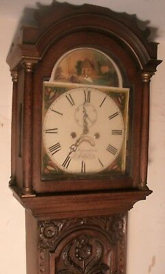 "Antique Carved Oak Moving Swan  ""  Exeter ""  Longcase / Grandfather  Clock"