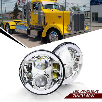 For Peterbilt 379 1988-2009 Universal Pair 7inch 80W round LED headlight DRL