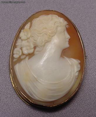 Beautiful Antique 14k Gold Carved Shell Cameo Brooch/ Pendant