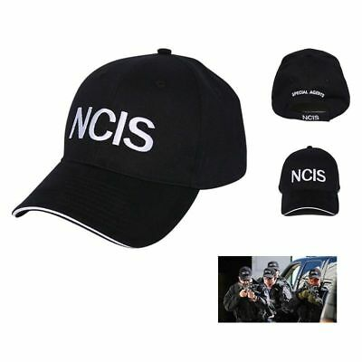 NCIS Embroidered Sandwich Peak Baseball Cap - Retro Crime Police Cap Hat  Black ed690105624f
