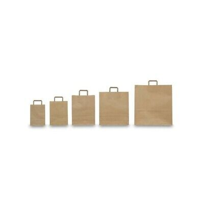 Confezione Buste Shoppers 26x11x35 cm AVANA NEUTRO Piattina (25 Pz) in Kraft