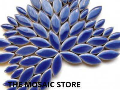 Dark Blue Ceramic Petals - Mosaic Craft Art Supplies Tiles