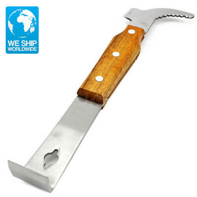 Beekeeping Stainless Steel Wood Handle Bee Hive Scraper Hook Tool for Beekeepers