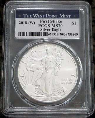 2018-(W) American Silver Eagle 1oz West Point Mint First Strike PCGS MS70, NR