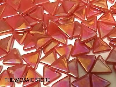 Iridised Red Glass Triangles - Mosaic Tiles Supplies Art Craft
