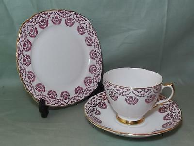 Vintage Royal Vale Bone China Trio Tea Cup Saucer Side Plate Pink Floral No.7221