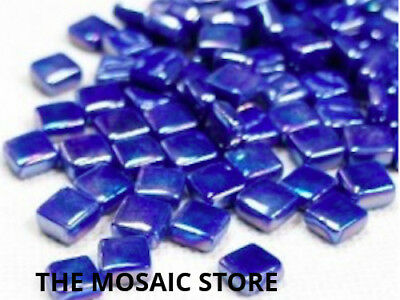 Iridised Dark Turquoise 8mm Glass Mosaic Tiles - Micro Small Art Craft Supplies