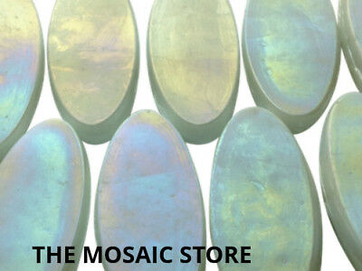 White Iridised Oval Glass Tiles - Mosaic Art & Craft Tiles Supplies