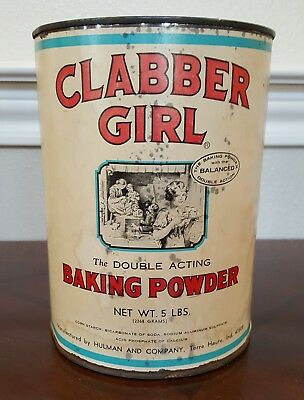 Vintage Clabber Girl Baking Powder Can-Commercial use 5 lb. Tin-White- 1970's