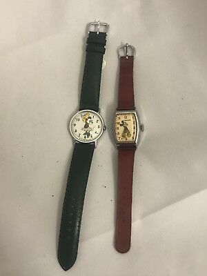 Vintage Ingersoll Mickey Mouse Watch 1947 -1948 Works & Minnie Mouse Watch 1958