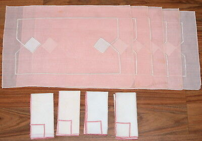 Vtg Linen Placemats and Napkins Hand Crafted Pink White Embroidered